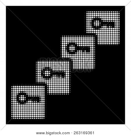 Halftone Dotted Key Blockchain Icon. White Pictogram With Dotted Geometric Structure On A Black Back