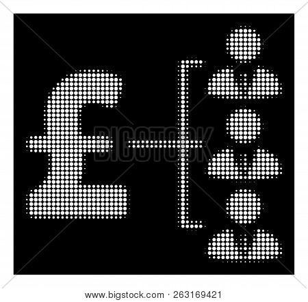 Halftone Dotted Staff Pound Payment Icon. White Pictogram With Dotted Geometric Pattern On A Black B