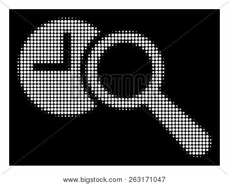 Halftone Dotted Find Time Icon. White Pictogram With Dotted Geometric Structure On A Black Backgroun