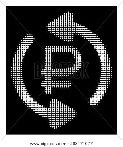 Halftone pixelated refresh rouble balance icon. White pictogram with pixelated geometric structure on a black background. Vector refresh rouble balance icon constructed of round spots. poster