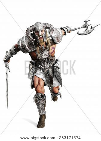 Fierce Armored Barbarian Warrior Running Into Battle On An Isolated White Background. 3d Rendering I