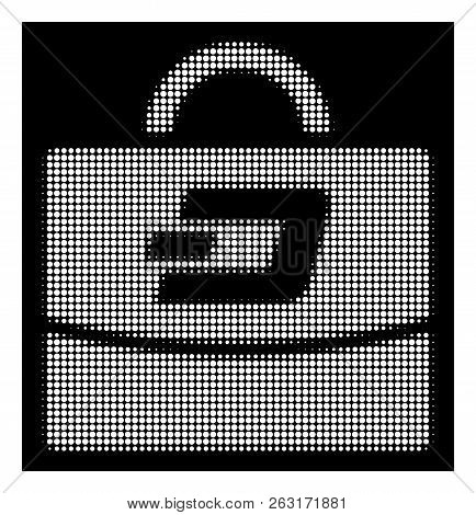Halftone Pixelated Dash Accounting Case Icon. White Pictogram With Pixelated Geometric Pattern On A