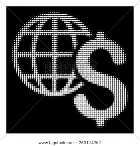 Halftone Pixel Global Economics Icon. White Pictogram With Dotted Geometric Pattern On A Black Backg