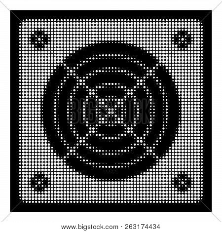 Halftone Pixelated Asic Miner Hardware Icon. White Pictogram With Pixelated Geometric Pattern On A B