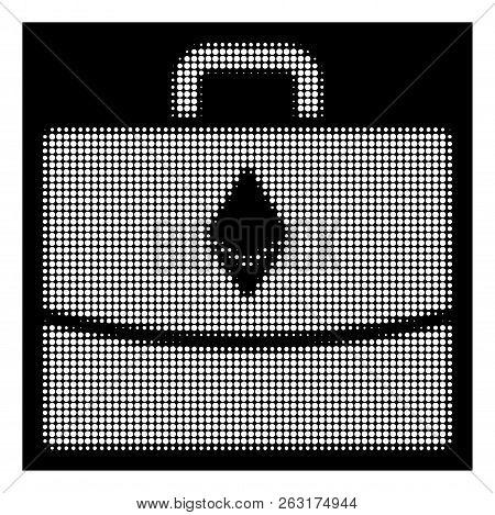 Halftone Pixelated Ethereum Accounting Case Icon. White Pictogram With Pixelated Geometric Pattern O