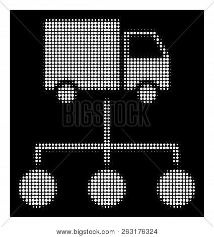 Halftone Pixel Truck Distribution Links Icon. White Pictogram With Pixel Geometric Structure On A Bl