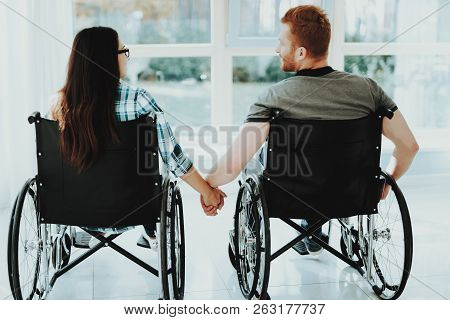 People In Wheelchair. Airport Hall. Woman In Wheelchair. Room With Panoramic View. Limited Opportuni