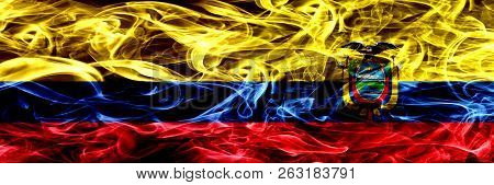 Colombia Vs Ecuador, Ecuadorian Smoke Flags Placed Side By Side. Thick Colored Silky Smoke Flags Of