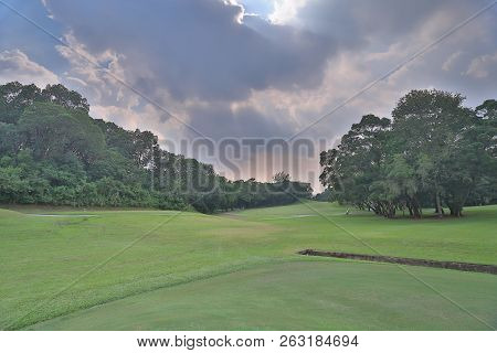 Green Golf Course Cart Path In Cloudy