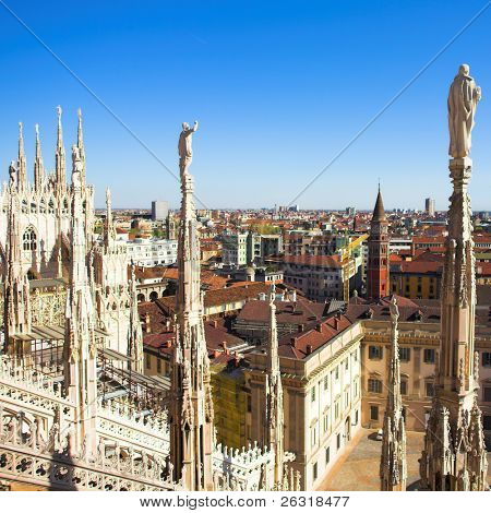 Summer panorama from Duomo roof, Milan, Italy