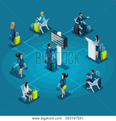 Isometric Infographic Airport Service Concept, Passengers With Luggage, Passengers In Waiting Room,