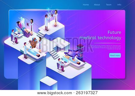 Future Medical Technology Isometric Web Banner With Medical Personnel Using Robotic, Augmented And V