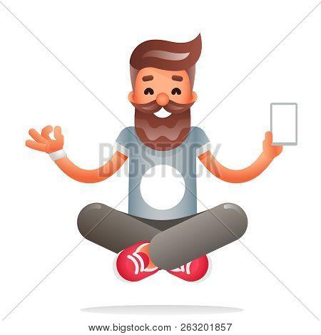 Hipster geek meditate new smartphone mobile apps technology enlightenment character flat design vector illustration poster