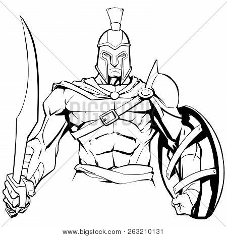 Line Art Illustration Of Spartan Warrior Holding Sword And Shield, Ready For Battle.