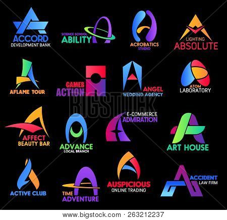 Letter A, Business Sand Corporate Identity Icons. Accord And Ability, Acrobatics, Aflame And Action,