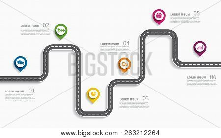 Navigation Roadmap Infographic Timeline Concept With Place For Your Data. Vector Illustration.