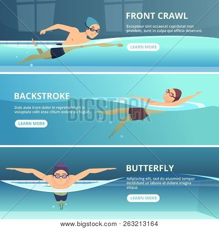 Swimming Pool With Swimmers. Horizontal Banners With Sport Illustrations. Swimmer Training Swim, Ath