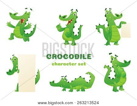 Cartoon Crocodile Characters. Alligator Wild Amphibian Reptile Green Big Animals Vector Mascots Desi