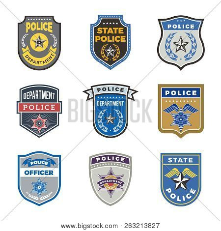 Police Shield. Government Agent Badges And Police Department Officer Security Vector Symbols. Badge