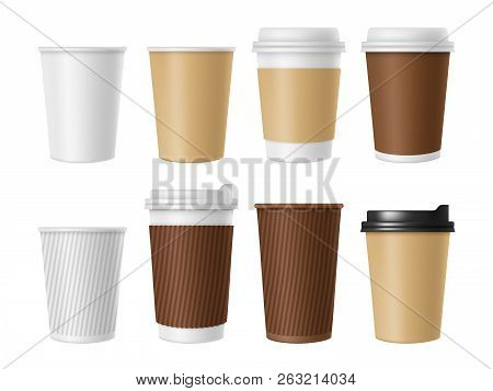 Disposable Coffee Cup. Blank Vector Template Of Hot Coffee White Paper Mug. Realistic Illustrations