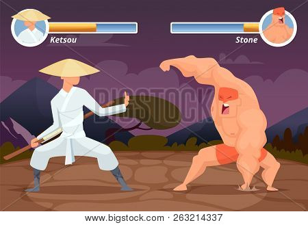 Game Fighting. Screen Location Of Computer 2d Gaming Asian Fighter Vs Wrestler Luchador Vector Backg