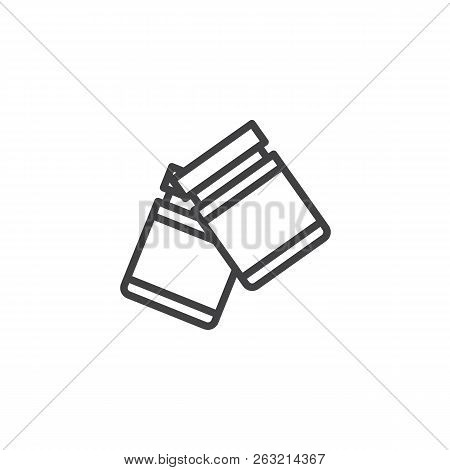 Fingerprint Powder Container Outline Icon. Linear Style Sign For Mobile Concept And Web Design. Fore