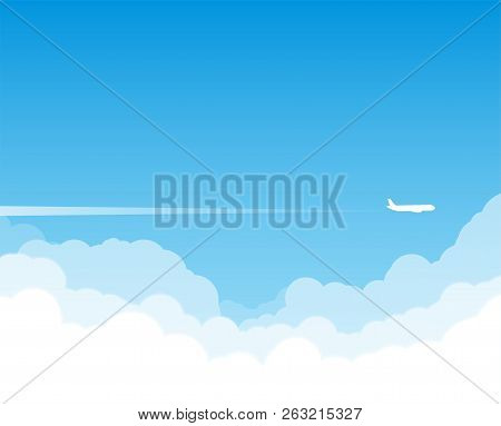 Airplane Flying Above Clouds. Jet Plane With Exhaust White Trail. Blue Gradient And White Plane Silh