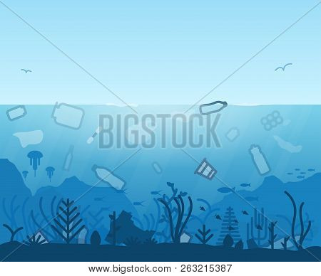 Plastic Ocean Pollution. Garbage In Sea. Plastic Bottles And Trash Floating In Water. Underwater Inh