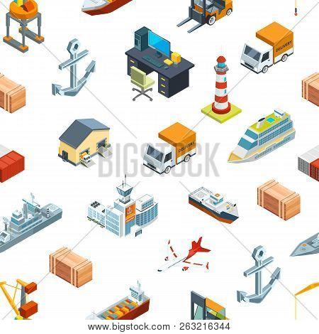 Vector Isometric Marine Logistics And Seaport Pattern Or Background Illustration. Transportation Sea