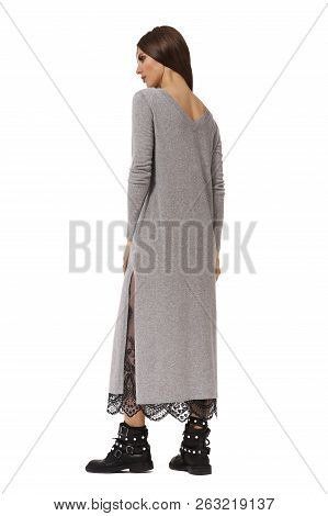 04b035f79cd Young Caucasian Business Woman Executive Posing In Casual Gray Long Dress  With Laces And Heavy Boots