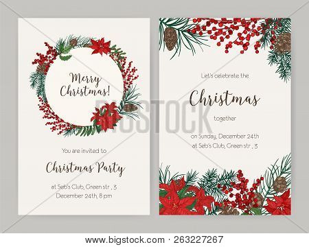 Set Of Christmas Flyer Or Party Invitation Templates Decorated With Coniferous Tree Branches And Con