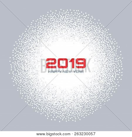 New Year 2019 Card Background. Christmas White Circle Frame. Confetti White Circle Dots Texture. Sno