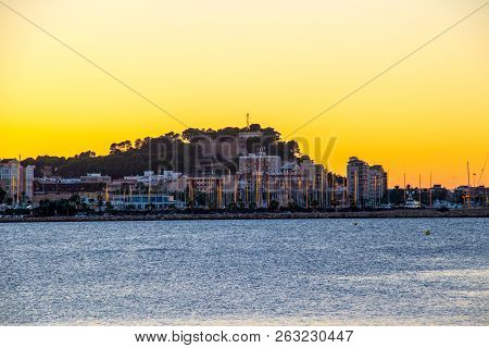 The Castle Port And City Of Denia At Sunset