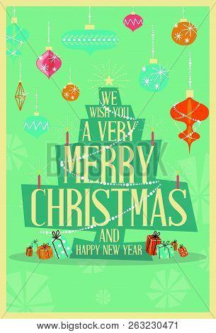 abstract merry christmas greeting card mid century mod christmas tree design concept vector illustr