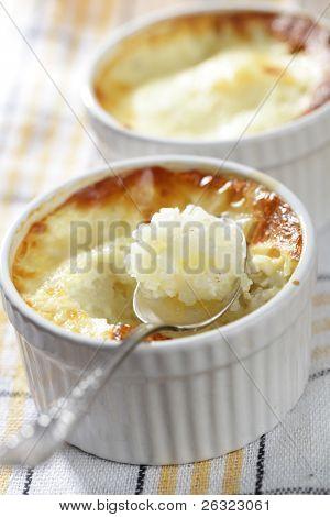 Rice pudding in the ramekin closeup