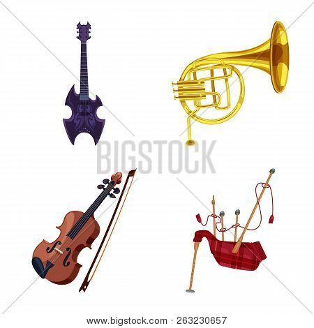Vector Illustration Of Music And Tune Sign. Collection Of Music And Tool Vector Icon For Stock.