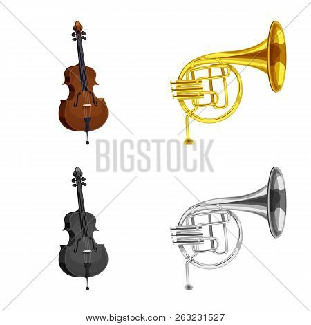 Vector Illustration Of Music And Tune Icon. Set Of Music And Tool Stock Vector Illustration.