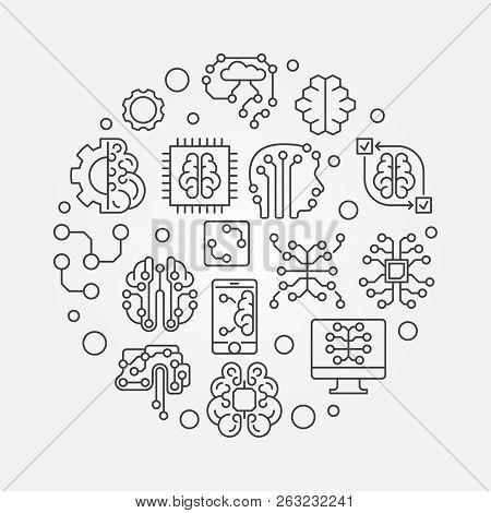 Digital Brain Round Vector & Photo (Free Trial) | Bigstock