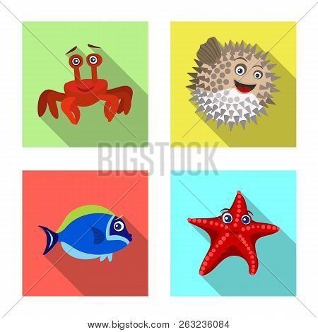 Vector Illustration Of Sea And Animal Icon. Set Of Sea And Marine Vector Icon For Stock.