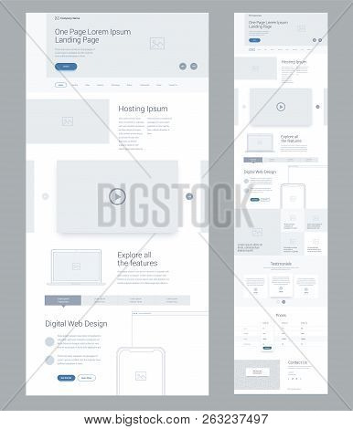 One Page Website Design Template For Business. Landing Page Wireframe Digital Web. Flat Modern Respo