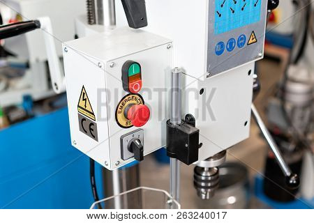 New Industrial Iron drill in workshop interior. Closeup on the drill. Tool store or exposition stand. poster