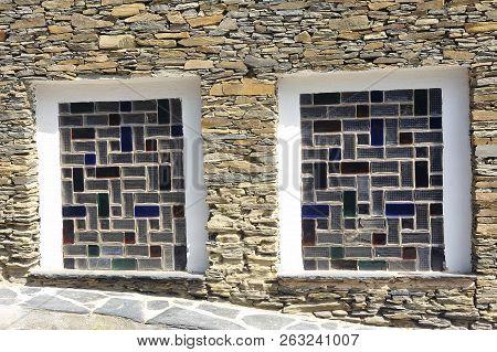 Ground Floor Window Made Of Colored Glass Bricks