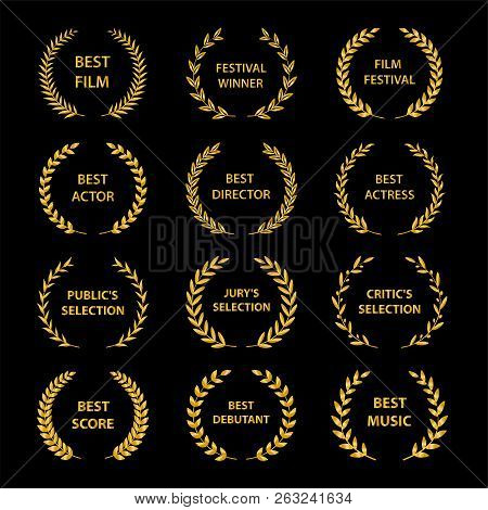 Film Awards. Golden Award Wreaths On Black Background. Vector Illustration.