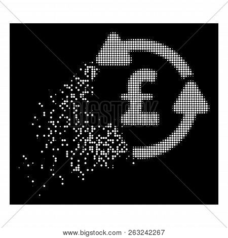 Pound circulation icon with dispersed effect on black background. White circle dots are arranged into vector disappearing halftone pound circulation figure. poster