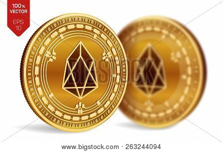 Eos. Crypto Currency. 3d Isometric Physical Coins. Digital Currency. Golden Coins With Eos Symbol Is