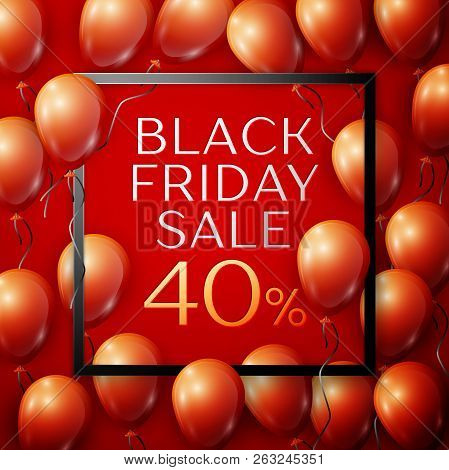 Realistic Red Shiny Balloons With Black Ribbon With Inscription In Centre Black Friday Sale Forty Pe