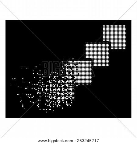 Blockchain Icon With Dissipated Effect On Black Background. White Points Are Combined Into Vector Di