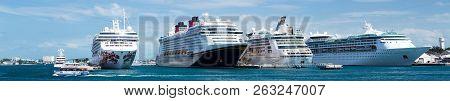Nassau, Bahamas - May 1, 2018: Four Ships Are Docked At The Cruise Terminal