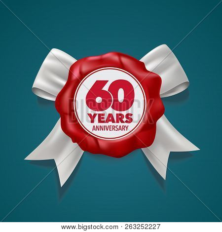 60 Years Anniversary Vector Logo, Icon. Template Design Element