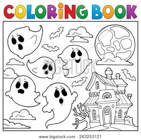 Coloring Book Ghost Theme 6 - Eps10 Vector Picture Illustration.